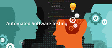 Automated software testing script to find bug by programmer. Vector Stock Photography