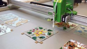 Automated stained glass machine stock footage