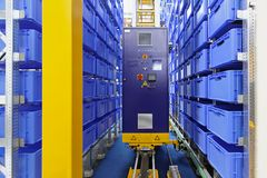 Automated storage warehouse Stock Photography
