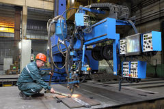 Automated submerged arc welding process Royalty Free Stock Photos