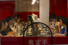 Automated sushi restaurant in Dotombori, Osaka, Japan Royalty Free Stock Images