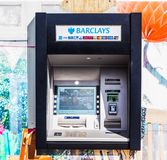 Automated Teller Machine (ATM) in London, hdr. LONDON, UK - CIRCA JUNE 2017: Barclays bank invented Automated Teller Machine (ATM) in 1967. It is now widely used Royalty Free Stock Photo