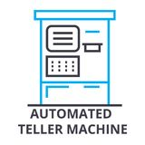 Automated teller machine thin line icon, sign, symbol, illustation, linear concept, vector. Automated teller machine thin line icon, sign, symbol, illustation Royalty Free Stock Photos