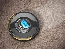 Automated vacuum cleaner on carpet. 3D illustration vector illustration