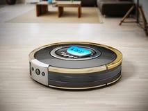 Automated vacuum cleaner on wooden floor. 3D illustration vector illustration