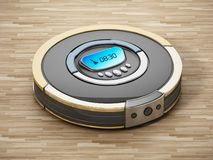Automated vacuum cleaner on wooden floor. 3D illustration.  stock illustration