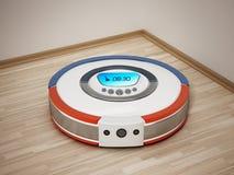 Automated vacuum cleaner on wooden floor. 3D illustration.  vector illustration