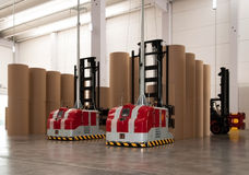 Automated warehouse (paper) with robotic forklift Stock Image