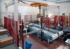Automated warehouse with robots Royalty Free Stock Image