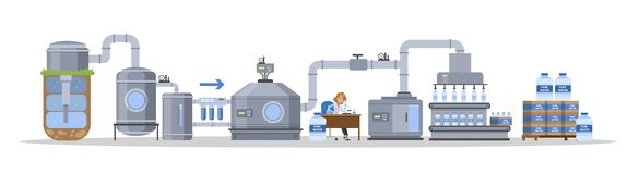 Automated water purification process. Testing and packaging stock illustration