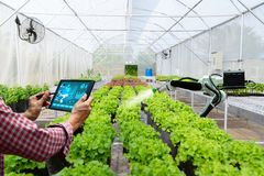 Automatic agricultural technology robot arm watering plants. Tree stock photos