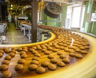 Automatic bakery production line with sweet cookies on conveyor belt equipment machinery in confectionary factory workshop stock image