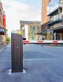 Automatic barrier and security system. Security system for building access - barrier gate stop. Automatic Rising Arm Or Drop Barrier. Intelligent Straight Pole Royalty Free Stock Image
