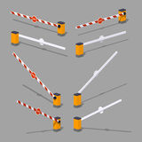 Automatic barrier with stop sign Stock Photos