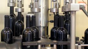 Automatic bottling lines wine equipment detail stock video footage