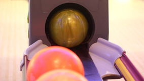 Automatic bowling ball. Indoor game stock footage