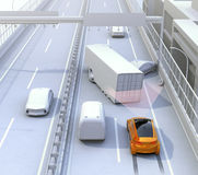 Automatic braking system avoid car crash from car accident. Concept for driver assistance systems. 3D rendering image Stock Photo