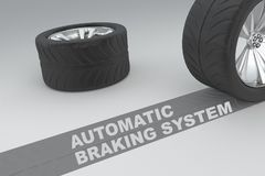 Automatic Braking System concept. Ual image of 3D rendered wheels with tires and sign over dark trace showing braking distances over grey background Stock Images