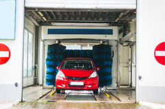 Automatic car wash. In action Royalty Free Stock Image