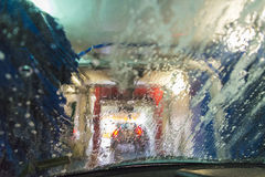 Automatic car wash. Car wash from inside of my car stock photography
