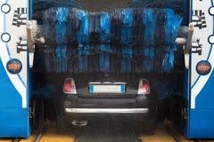 Automatic car wash. Washing machine step. Clean car royalty free stock image