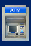 Automatic cash terminal. An automatic cash terminal, isolated over deep blue Stock Image