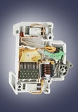 Automatic circuit breaker cross section Royalty Free Stock Photo