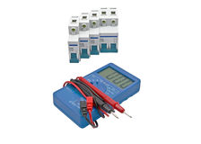 Automatic circuit breaker and Digital multimeter Royalty Free Stock Photography