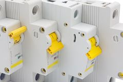 Automatic circuit breakers isolated on white royalty free stock image