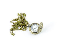 Automatic Clock Locket Gothic Lolita Necklace. Isolated over white background stock photos