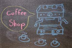 Automatic coffee machines on chalkboard Royalty Free Stock Images