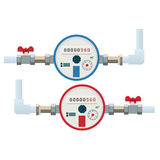 Automatic cold and hot water meters. Flat vector icon. Royalty Free Stock Photos
