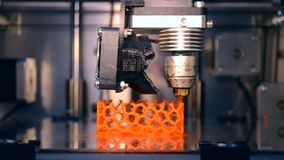 Automatic 3D printer performs plastic modeling in laboratory. stock footage