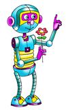 Automatic drawing cartoon robot cyborg sensor Royalty Free Stock Photography
