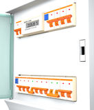 Automatic electrical components in electric box 3d illustration Stock Image
