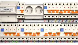 Automatic electrical components in front view 3d illustration. Stock Photos