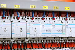 Automatic electricity switcher. Color wires in a box of distribution of an electricity royalty free stock photography