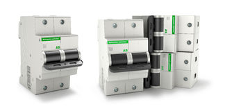 Automatic electricity switchers. On a white background. 3D illustration Royalty Free Stock Photo