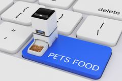 Automatic Electronic Digital Pet Dry Food Storage Meal Feeder Di. Spenser over Computer Keyboard with Pets Food Sign on a white background. 3d Rendering vector illustration