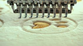 Automatic Embroidery Threads Form Legs of a Bear stock video footage