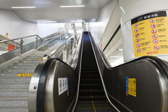 Automatic escalator-Subway station entrances and exits-. Nanchang city subway in December 26, 2015, the official operation, which is a historical moment in Stock Image