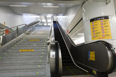 Automatic escalator-Subway station entrances and exits-. Nanchang city subway in December 26, 2015, the official operation, which is a historical moment in Royalty Free Stock Photography