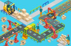 Automatic factory with conveyor line and robotic arms. Assembly process. Vector Royalty Free Stock Photos