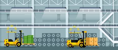 Automatic Forklift Car Driving Freight and Goods. Mechanical Loader Carrying Cardboard Box and Green Tank. Empty Manufacturing Warehouse. Smart Factory. Flat royalty free illustration