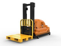 Automatic forklift truck. 3d rendering automatic forklift on white background stock illustration