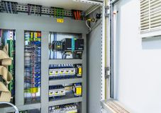 Power distribution control panel. Electricity. Automatic fuse electrical connector in power lines. Industrial electric enclosure, switch control panel board royalty free stock photos