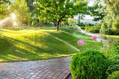 Automatic garden watering system with different sprinklers installed under turf. Landscape design with lawn hills and fruit garden