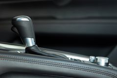 Automatic gear shift. Automatic selector lever in the passenger car stock photography