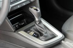 Automatic gear shift. Automatic selector lever in the passenger car stock image