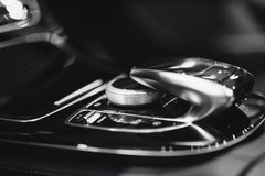 Automatic gear shift in car. Automatic gear shift in new car royalty free stock photography